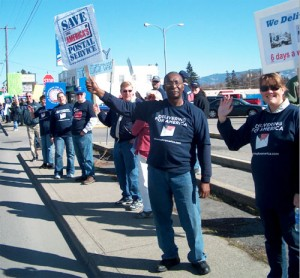 Nearly 70 turned out at Spokane Valley Post Office on March 24 to call on the USPS to Save 6-Day Delivery.
