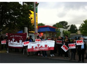 """Working Washington reports that the strike has caused """"big lines"""" at the Burger King in Lake City on Thursday morning."""