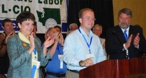 Sen. Nathan Schlicher gets a rousing ovation from convention delegates.