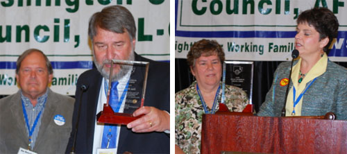 At left, WSLC President Jeff Johnson presents USW's Don Houtchens with his award. At right, WSLC Secretary-Treasurer Lynne Dodson presents the award to PCCLC's Patty Rose.