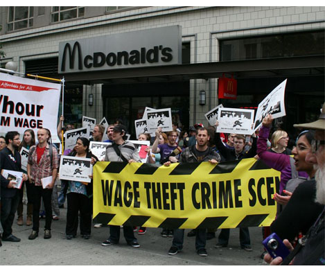 This wage-theft protest happened in Seattle on Aug. 1. Click for the story.