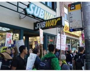 Picketers effectively shut down the Caitol Hill Subway store where fast-food workers' leader Carlos Hernandez was fired. (Click to see more pics.)