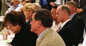 State legislators, including Sen. Rodney Tom, listen to testimony at the transportation forum in Bellevue.