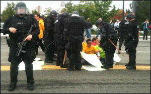 Check out the police response at the protest in Renton.