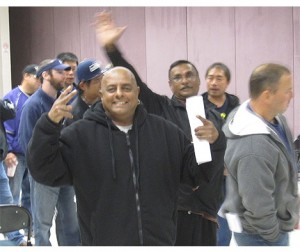 Belshaw workers celebrate the contract ratification vote on Wednesday, Oct. 2.