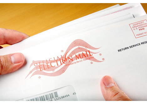 Voter receiving ballot through mail