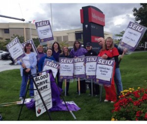 SEIU HealthCare 1199NW conduct an informational picket outside Valley Hospital in October 2013.